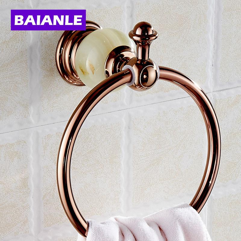 ФОТО Free Shipping  Unique Design Jade Golden Towel Ring Wall Mounted Brass Bathroom Towel Rack