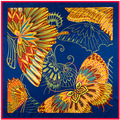 Nova chegada 100% borboleta de seda lenço 100 cm * 100 cm grande lenço para mulheres moda Lady xaile