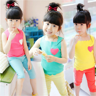 2013 scalloped female child candy color love applique vest t-shirt