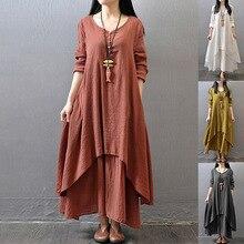 цена Ladies Dress Long Sleeves Solid Color Linen Loose Big Hem Dress -OPK