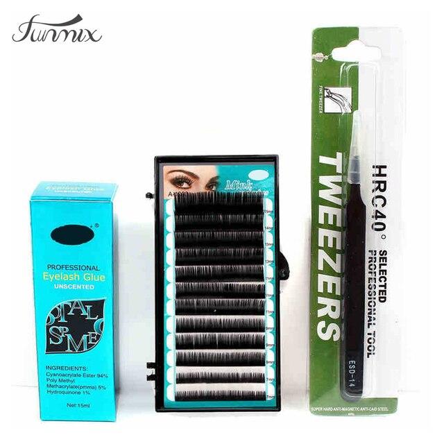 Professional Personal Grafting Individual Mix False Eyelash Gule Tweezer C Curl  Lash Extensions Make Up Kit Set