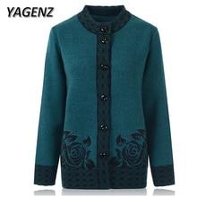 Женский вязаный свитер для пожилых женщин, пальто большого размера 6XL 7XL, Осенний однобортный Свободный кардиган, женский свитер, повседневные топы