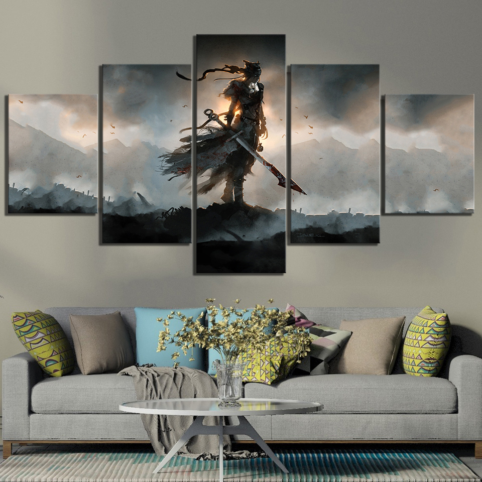 5 Piece HD Fantasy Art Celtic Warrior Pictures  Hellblade Senuas Sacrifice Video Game Poster Canvas Paintings Wall Art Decor 1