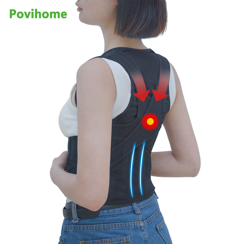 Povihome Back Waist Support Belt Posture Corrector Backs Medical Belt Lumbar Child Student Adult Male Corset For Posture C776