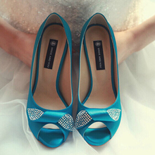 Blue Satin Peep Toe Pumps for Mother Single Shoes Party Prom Dress Shoes Bling Bling Bridal Wedding Shoes Bridesmaid Shoes