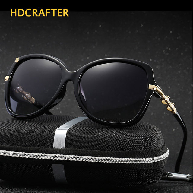 b40c0b96a10 2017 HDCRAFTER Luxury Women Polarized Sun Glasses Hollow Frame Cat Eye  Eyewear Retro Oculos De Sol UV400 Protection With Case