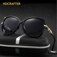2017 HDCRAFTER Luxury Women Polarized Sun Glasses Hollow Frame Cat Eye Eyewear Retro Oculos De Sol