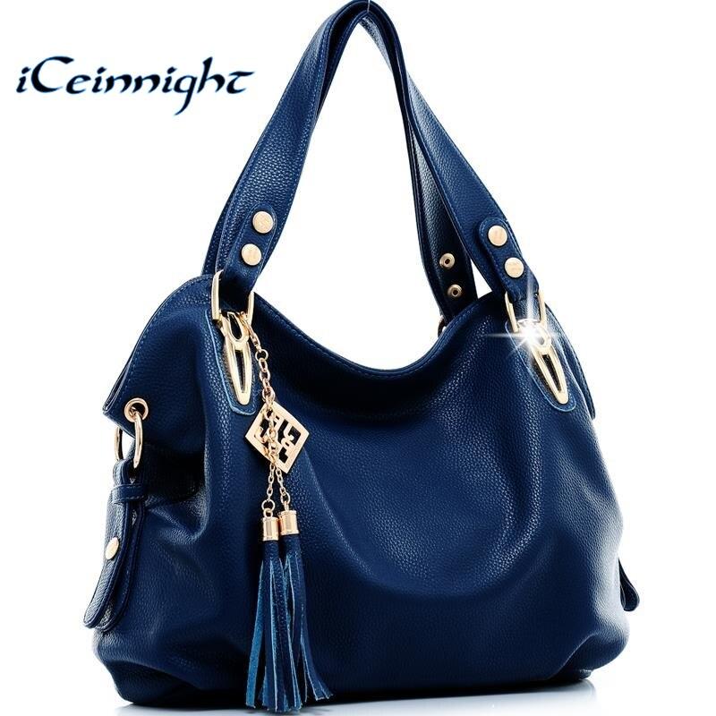 iCeinnight New 2016 fashion women leather handbags messenger clutch shoulder bags vintage tassel bags Bolsas Femininas