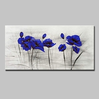 Mintura Wall Picture for Living Room Decoration Art Pictures Blue Flowers Art Hand Painted Wall Sticker Oil Painting No Framed