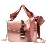 Luxury Women Bowknot Messenger Bags Lady Chains Flap Bag Fashion Solid Color Hasp Type Shoulder Bags