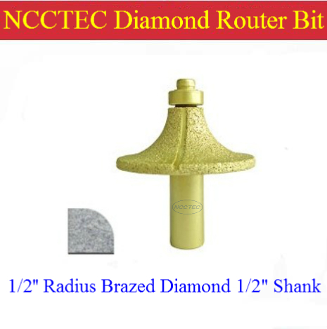 1/2'' R12 Radius Diamond Vacuum Brazing Brazed Router Bit With 1/2