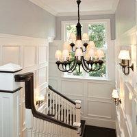 Вилла Гостиная Винтаж гладить Большой Люстра Северной Европы дуплекс лестница светодиодные лампы три Слои лестничные люстры