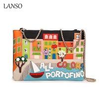 LANSO New Women Bags Italy Messenger Bag Retro Handmade Bolsa Embroidery Letter Bolsos Famous Designer Crossbody