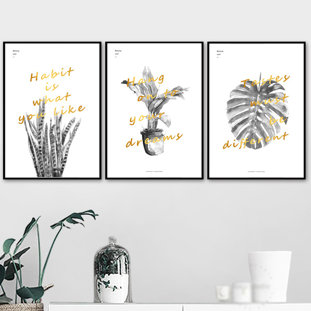 Black White Monstera Sansevieria Leaf Wall Art Canvas Painting Nordic Posters And Prints Wall Pictures For Living Room Decor