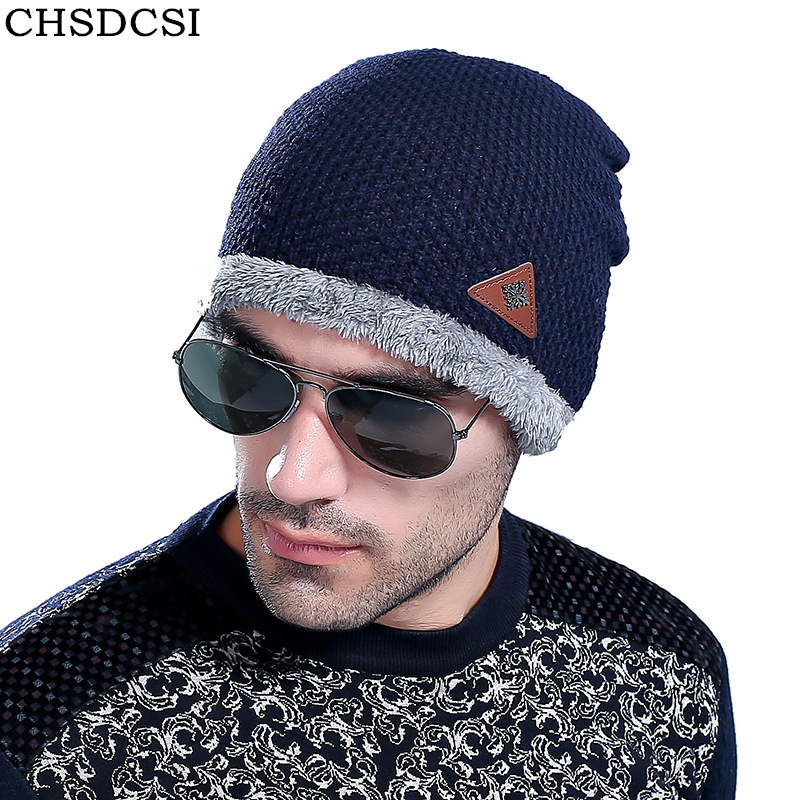 CHSDCSI 2017 New Winter Fashion Casual Warm Wool Caps Hot Hat For Man The Trend Thick Fleece Plus Velvet Knitted Men Cap Beanie wuhaobo the new arrival of the cashmere knitting wool ladies hat winter warm fashion cap silver flower diamond women caps