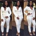 Fashion White Pants Suit Women Long Sleeve Autumn Winter Suit Formal Office Work Wear Womens Business Suits
