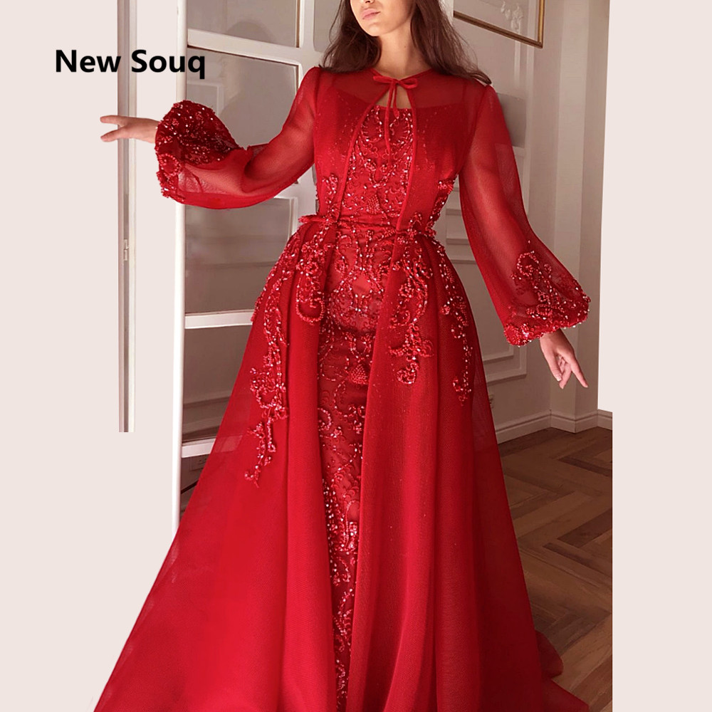 Saudi Arabic Red Mermaid Evening Dresses With Detachable Long Jacket Applique Beaded Prom Gowns Sweep Train Muslim Prom Dress