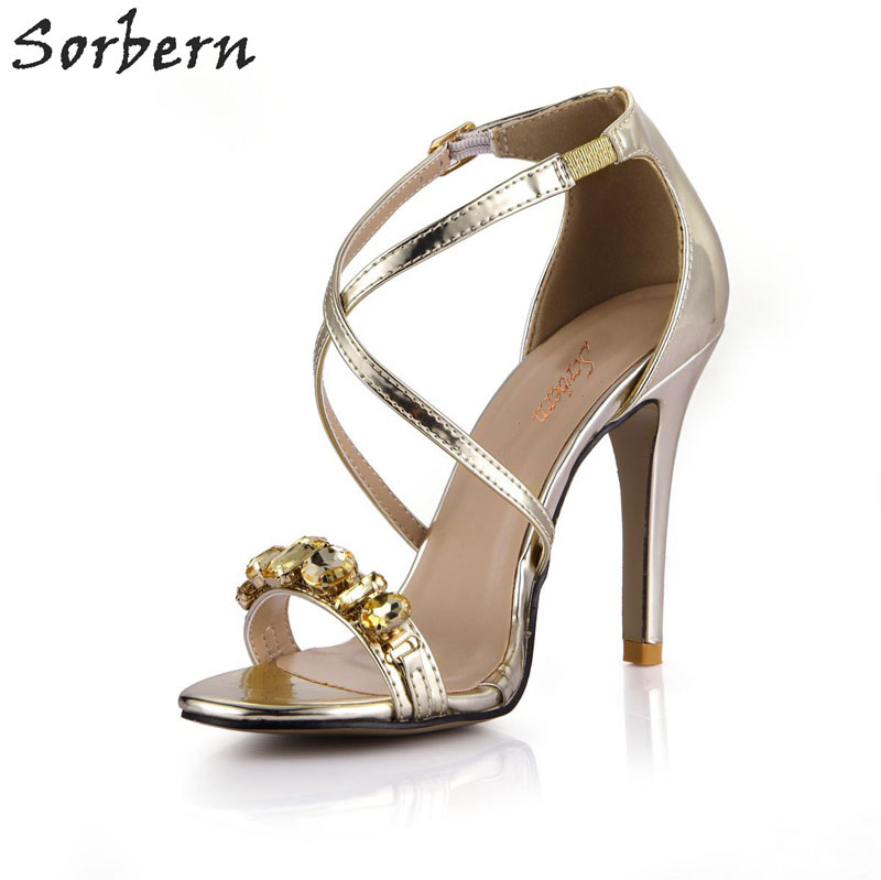 Sorbern Gold Lady Shoes High Heel Sandals Womens Summer Shoes Open Toe Sandal Crystals Evening Party Dress Shoes Custom Color new arrival lady fashion high heel shoes pointed toe dress shoes elegant flower closed toe party summer evening sandals c131