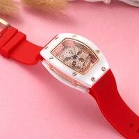 Керамика женские часы полые моды кварцевые часы женские роскошные часы Водонепроницаемый бренд вращающихся часы силиконовые ремень женск