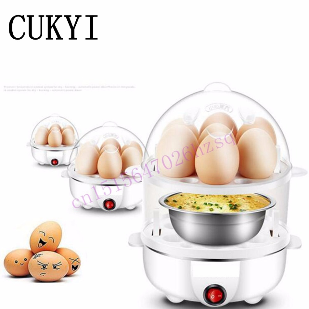 CUKYI Double layer Multi function Electric Egg Cooker Boiler Stainless steel  automatic power off Mini|electric egg cooker|egg cooker electric|egg electric - title=