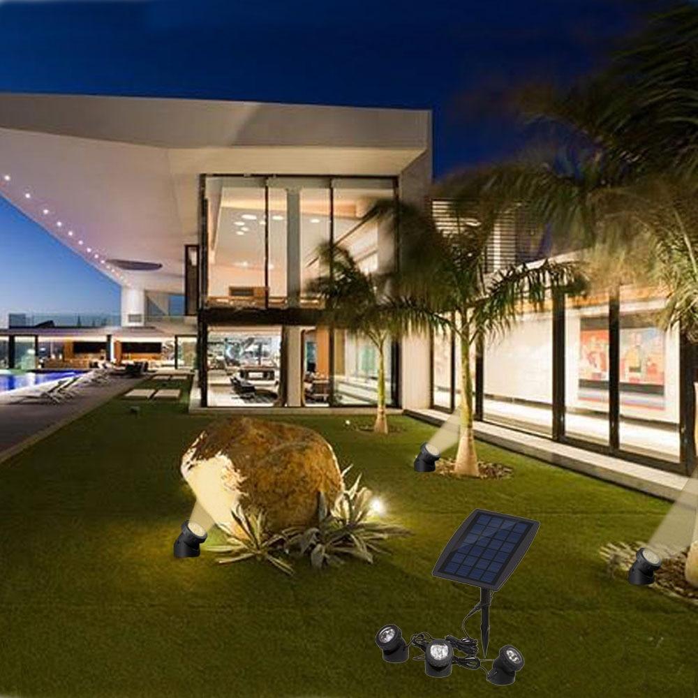 3 head solar lawn lamp white warm white blue IP68 led underwater pool spot light outdoor
