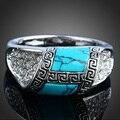 Estilo europa Personalidade Do Vintage Azul Turquesa Banhado A Prata Anéis Jóias para As Mulheres Homem Aneis Feminino