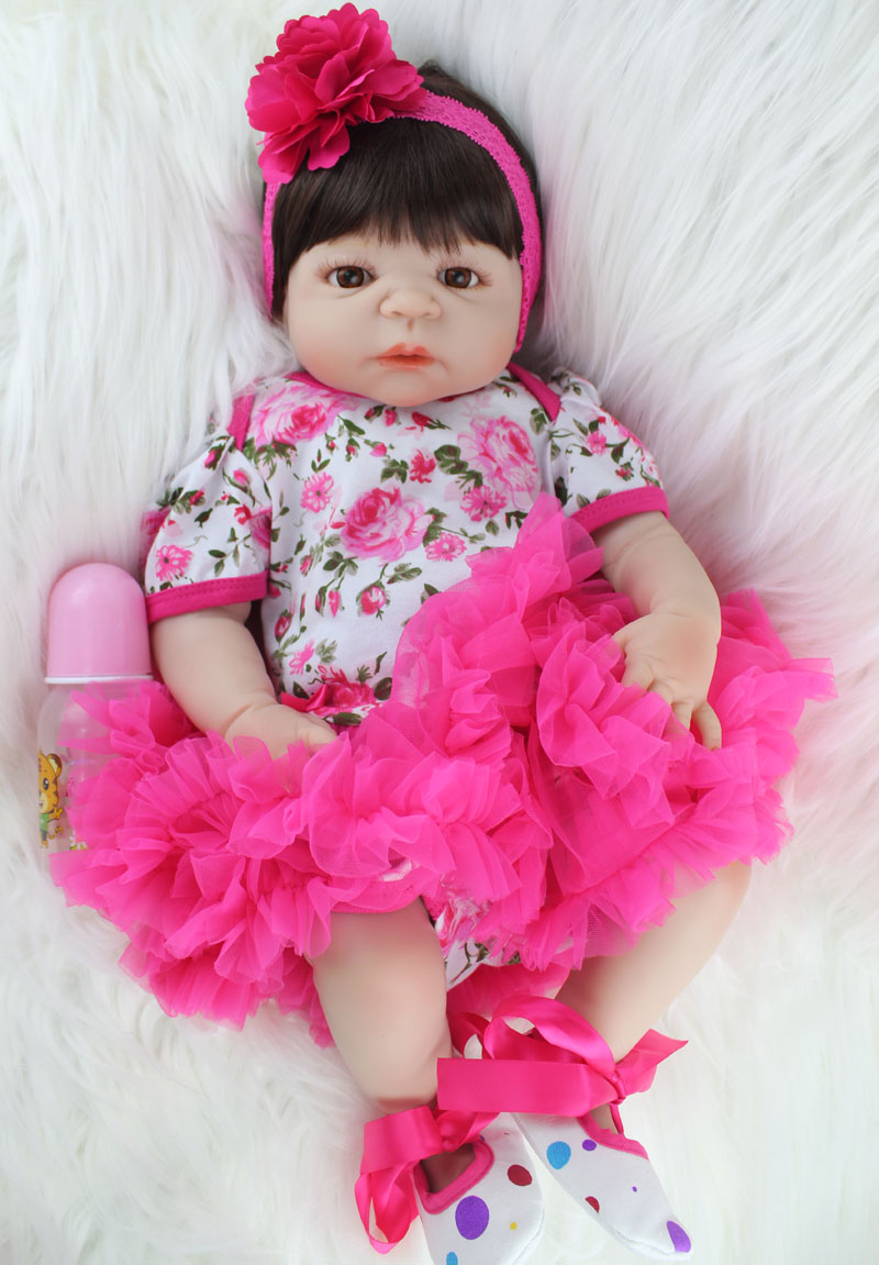 NPKCOLLECTION 55 cm Volle Silikon Körper Reborn Baby Puppe Spielzeug Realistische Newborn Prinzessin Mädchen Babys Puppe Kid Brinquedos Baden Spielzeug