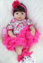 NPKCOLLECTION 55cm Full Silicone Body Reborn Baby Doll Toy Realistic Newborn Princess Girls Babies Doll Kid Brinquedos Bathe Toy