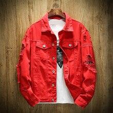 MYAZHOU джинсовая куртка Для мужчин новая молодежная мода деним тонкий Однобортный пиджак Повседневное Для мужчин тонкая куртка большой Размеры