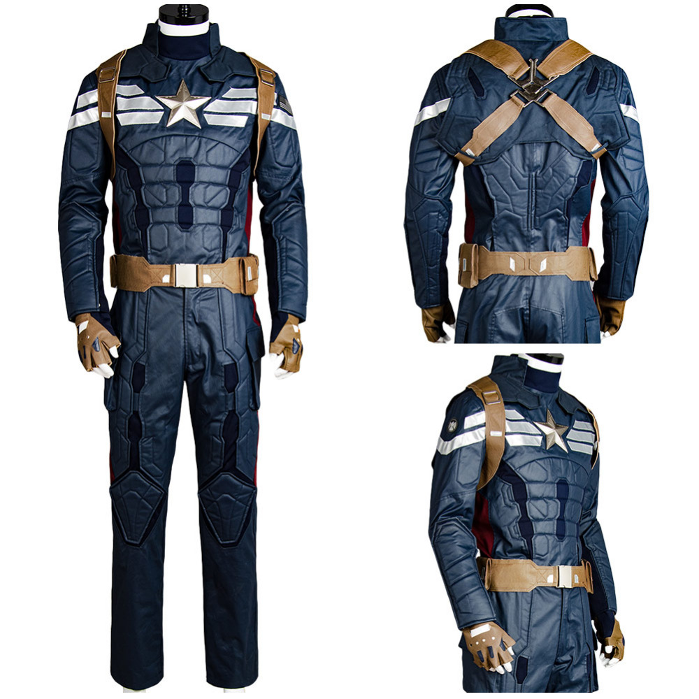 2017 Avengers Captain America 2 Costume Steve Rogers Cosplay Costume Suit For Adult Men Halloween Carnival Costumes
