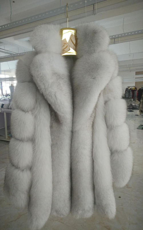 Russian Styel Warm Thick Warm Real Fox Fur coats with Notched Turn Down Collar Women natural fur jackets outfit