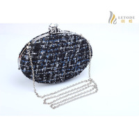 Oval shaped women clutch bag knitting wool shoulder Bags ladies cheap handbags single Chain messenger bag brand bolsos 8287