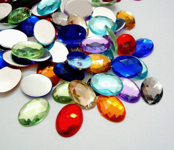 1 Bag Flat Back <font><b>Oval</b></font> Mixed Color Faceted Imitation Taiwan Acrylic Rhinestone <font><b>Cabochons</b></font> for Jewelry Making DIY Bracelet Necklace image