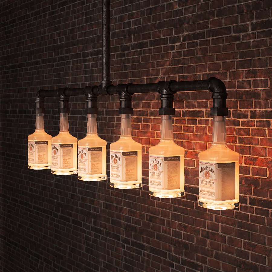 Aliexpress Jim Beam Glass Beer Bottle Chandelier Lighting Water Pipe Vintage Bar Decorative Lights Fixture From Reliable