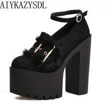AIYKAZYSDL 2018 Women Pumps Ultra Very High Heel Buckle Strap Real Genuine Fur Decor Platform Block Thick Heel Shoes Creepers