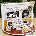 Lavender DIY handmade wooden doll house,Dollhouse Miniature 360 degree rotation Lavender , with LED light, free shipping,