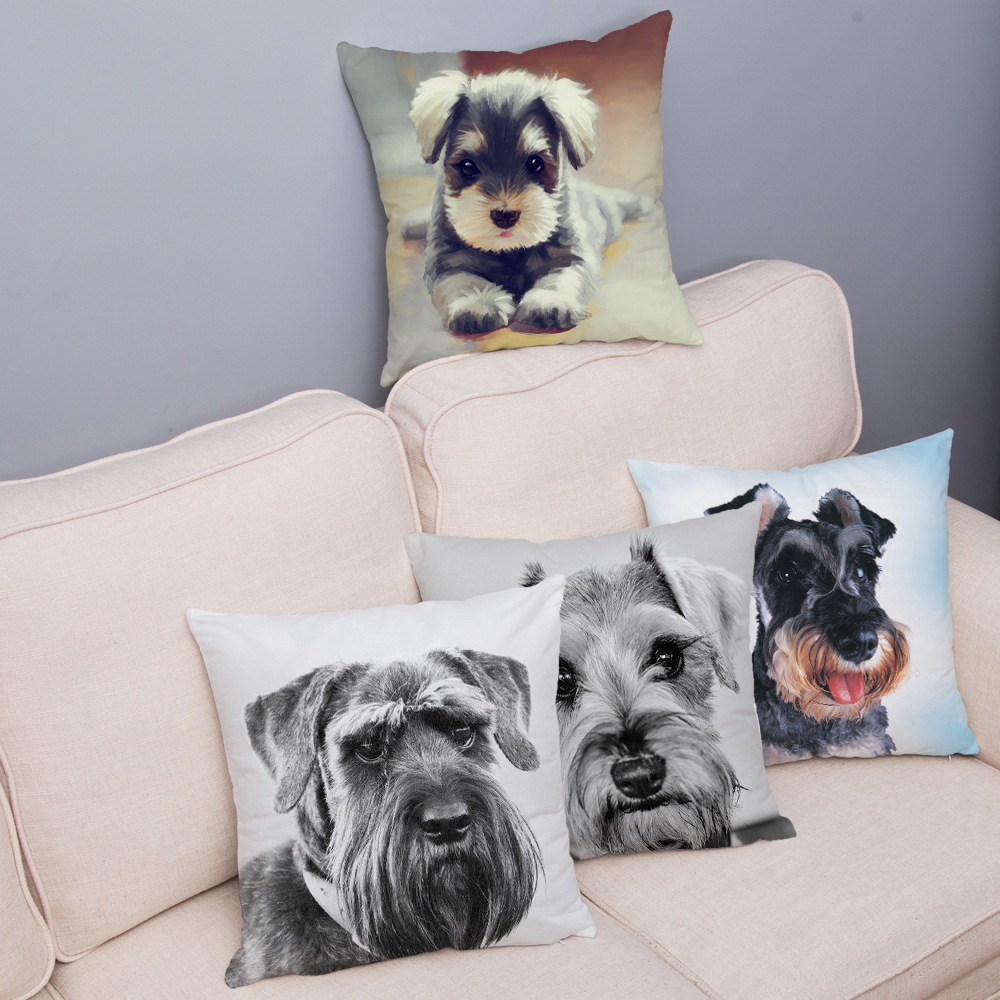 Cute Standard Schnauzer Print Cushion Cover 45*45 Throw Pillow Case Super Soft Short Plush Pillowcase Home Decor Cushion Covers