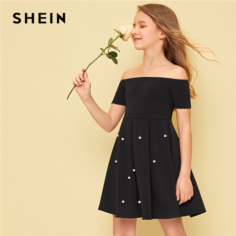 SHEIN Kiddie Black Off The Shoulder Pearl Beading Pleated Elegant Party Girls Dress 2019 Summer Sleeveless Cute A Line Dresses off shoulder lace contrast dress