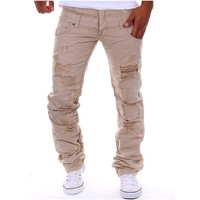 Men pants 2017 spring and summer new men's personality fashion washed hole hair pull Europe and the United States hot pants