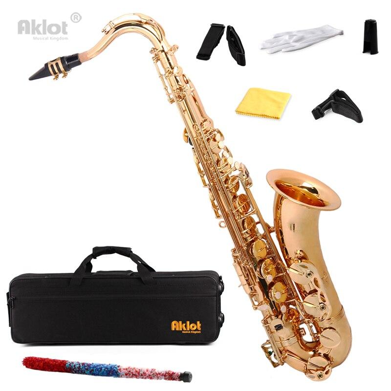 цена Aklot Bb Gold Beginner Tenor Saxophone Sax Brass Body with Case and Mouthpiece онлайн в 2017 году