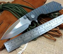 High Quality Cool Camping Knives D2 steel blade Bearing folding knife TC4 titanium alloy handle tactical knive Model 2