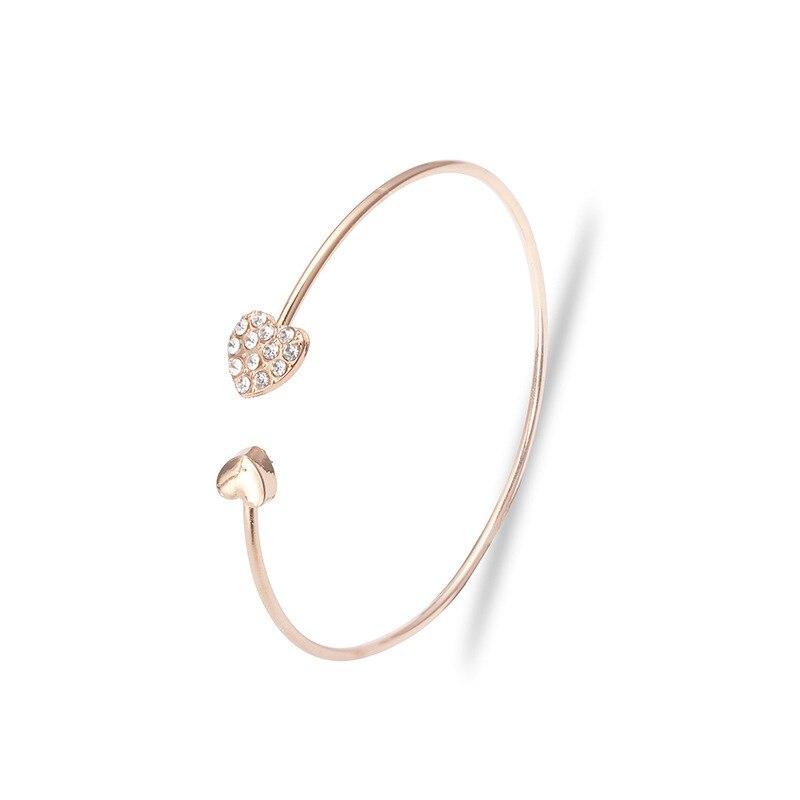 Роскошные браслеты из нержавеющей стали из розового золота, женские браслеты с сердцем, подвеска любовь, браслет для женщин, пара, женская бижутерия в подарок - Окраска металла: 1205