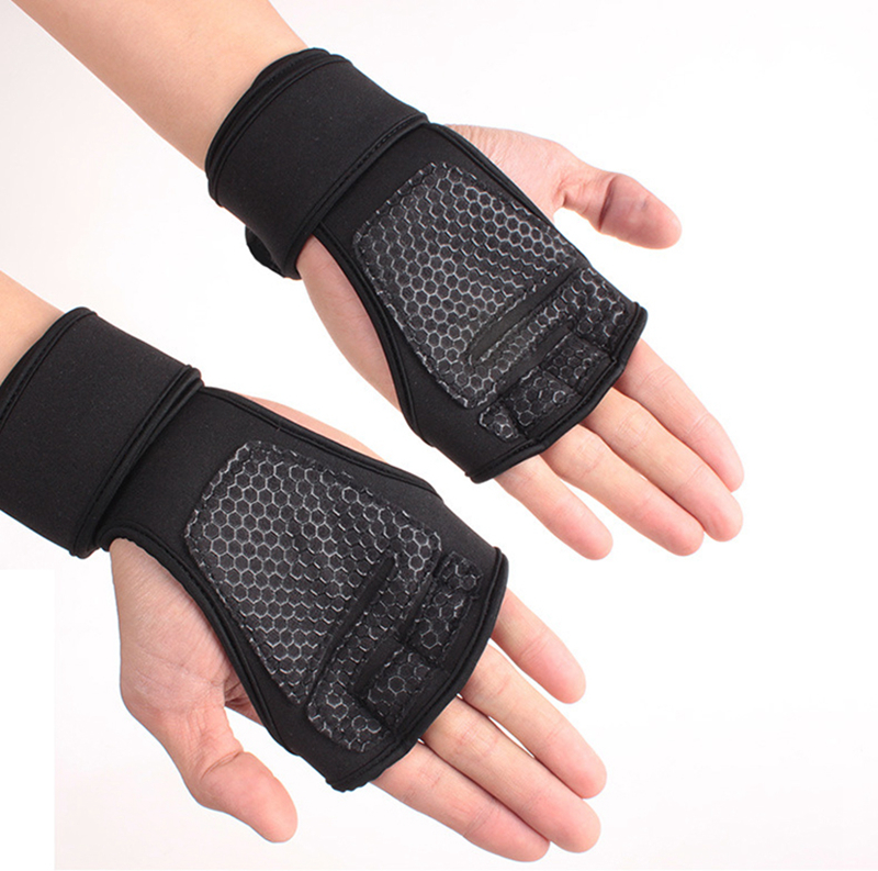 New 1 Pair Weight Lifting Training Gloves Women Men Fitness Sports Body Building Gymnastics Grips Gym Hand Palm Protector Gloves (11)