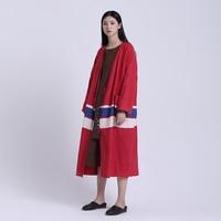 Ch064 оригинальный Дизайн 2016 женские весенние пальто кардиган винтажные красный ручной ткацкий Большие размеры свободные длинные плащ