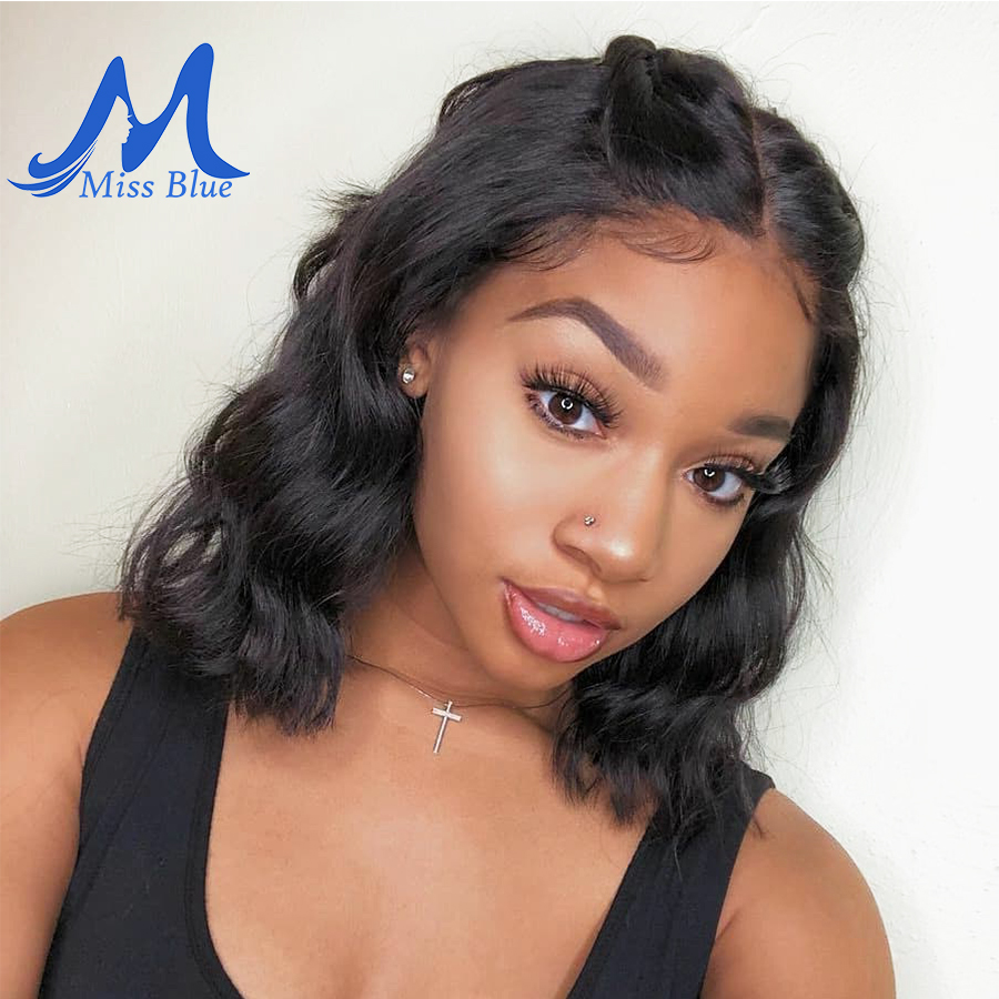 Missblue Short Lace Front Human Hair Wigs Body Wave Bob Wigs With Pre Plucked Hairline Lace