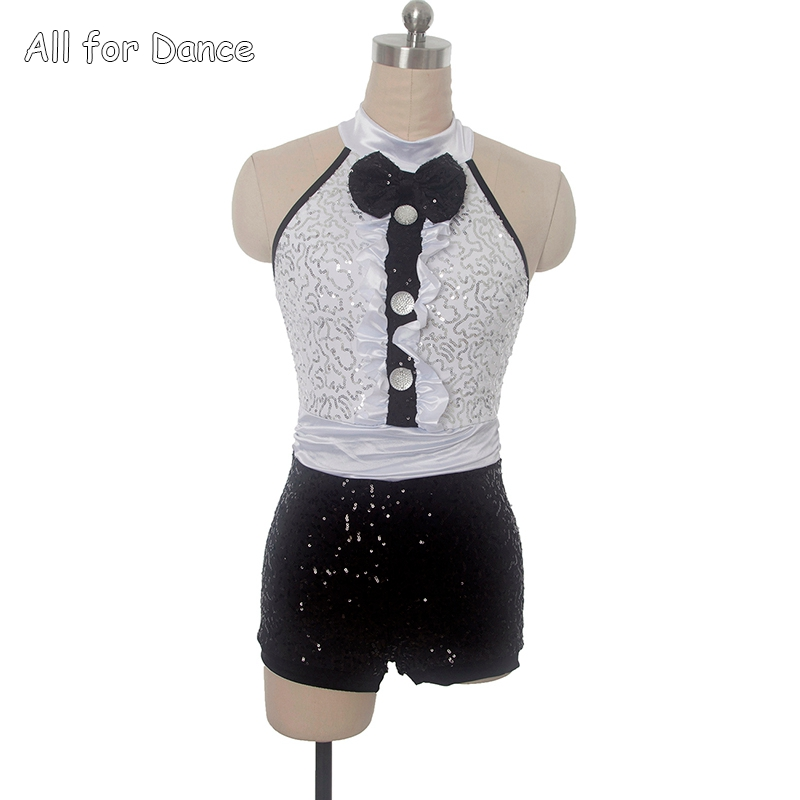 Show details for 17901 White Amp Black Sequin Spandex Bodice Jazz/Tap Dance Costumes Ballet Dress Women Amp Girl Dance Wear Performance Costumes