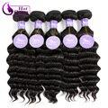 Queen hair products malasia pelo de la virgen más ondulado color natural 100g de malasia suelta la onda profunda rizada del pelo humano 10 unids/lote