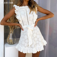 2019 Summer New Sexy Mini Women's Dresses Ruffled Sleeveless Lace white Tank Dress Women Hollow Out A-Line Beach Dress Vestidos цена