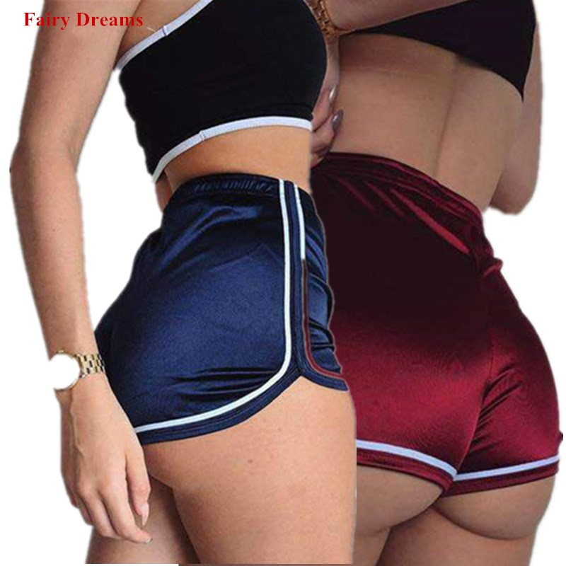 Sports   Shorts   Women 2019 Summer Solid Beach Casual Blue Red Black Purple Gold Ultra Hot Sexy High Waist   Shorts   Female