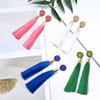 2019 Woman Classical Crystal Flower Fringe Earings Tassel Drop Earrings for Women Female Fashion Ethnic Long Dangle Earring